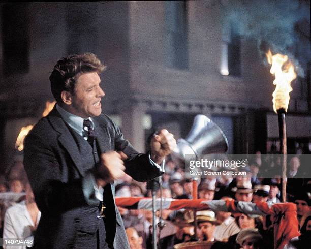 Burt Lancaster US actor pumping his fists while addressing a crowd in a publicity still issued for the film 'Elmer Gantry' 1960 The drama adapted...