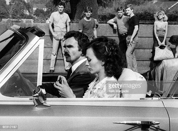 Burt Reynolds and Leslie Ann Down filming Diamond Cut Diamond on July 22 1979 in London England