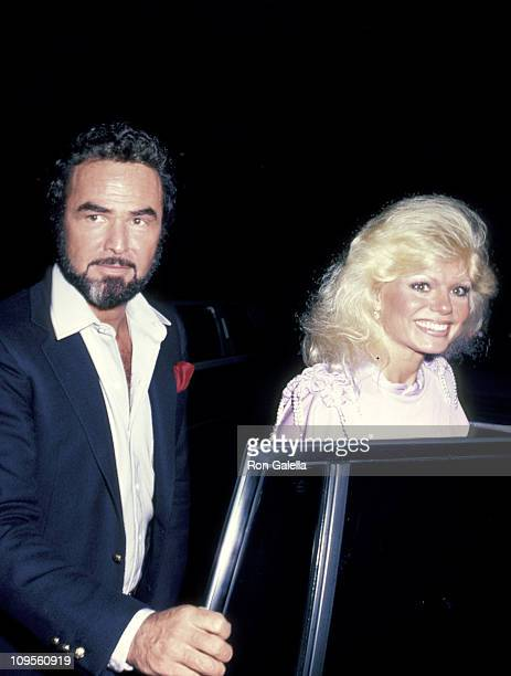 Burt Reynolds and Loni Anderson during Sammy Davis Jr in Concert April 26 1983 at Beverly Wilshire Hotel in Beverly Hills California United States