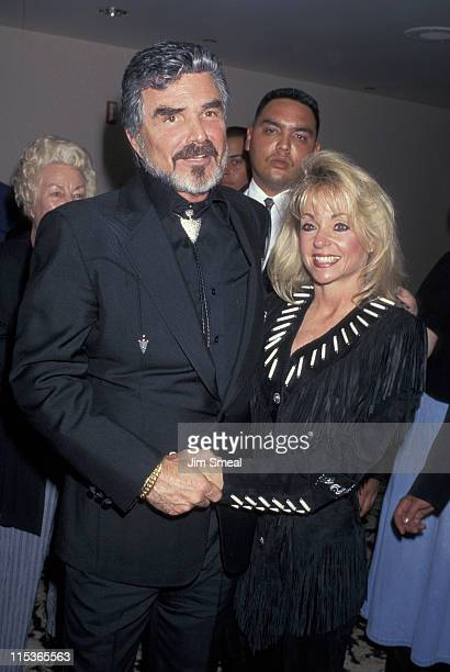 Burt Reynolds and Pamela Seals during 1996 Golden Boot Awards at Century Plaza Hotel in Century City California United States