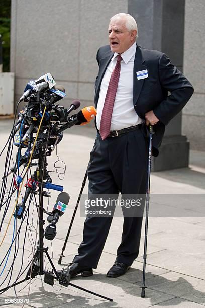 Burt Ross victim of a Ponzi scheme operated by Bernard Madoff founder of Bernard L Madoff Investment Securities LLC speaks outside federal court...