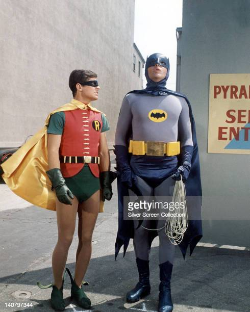 Burt Ward US actor and Adam West US actor both in costume as the 'Dynamic Duo' in a publicity still issued for the television series 'Batman' USA...