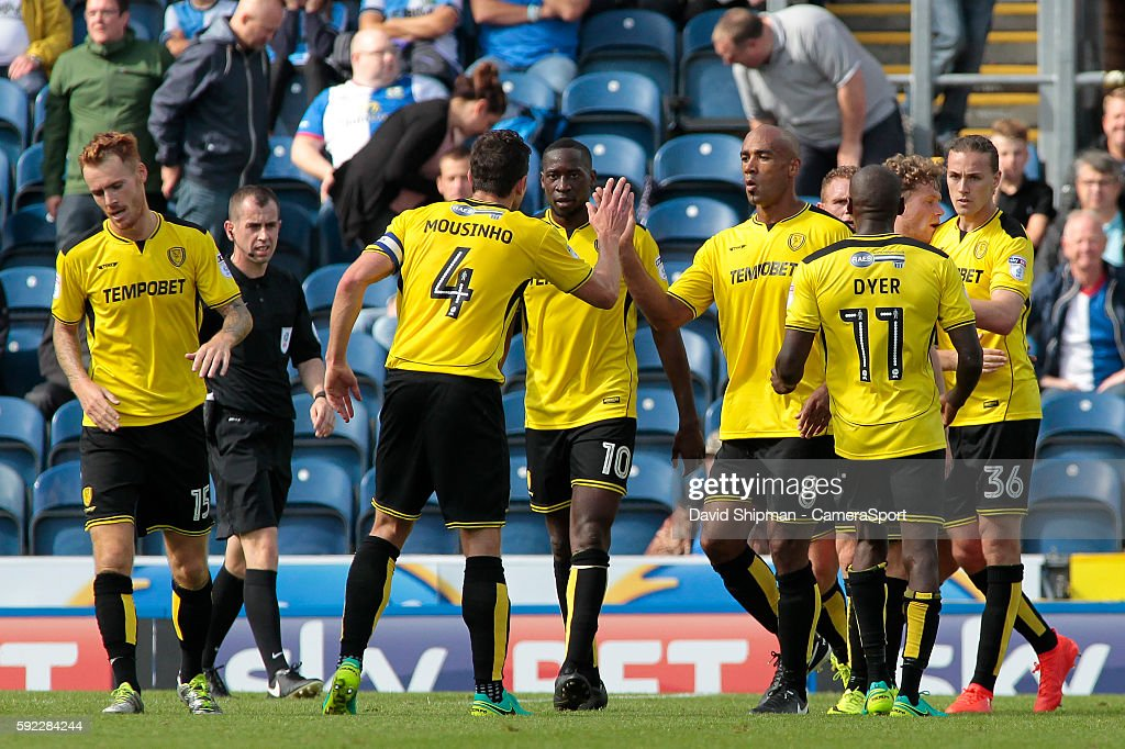 Burton Albion celebrate after Jackson Irvine makes it 1-1 during the Sky Bet Championship match between Blackburn Rovers and Burton Albion at Ewood park on August 20, 2016 in Blackburn, England.