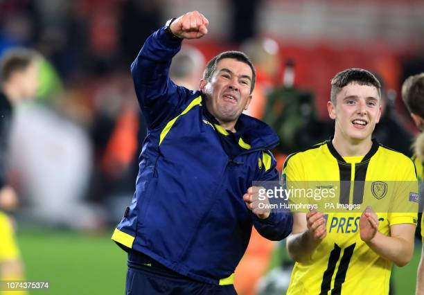 Burton Albion manager Nigel Clough celebrates after the Carabao Cup Quarter Final match at the Riverside Stadium Middlesbrough