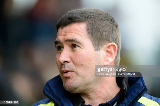 Burton Albion manager Nigel Clough during the Sky Bet League One match between Burton Albion and Blackpool at Pirelli Stadium on March 16 2019 in...