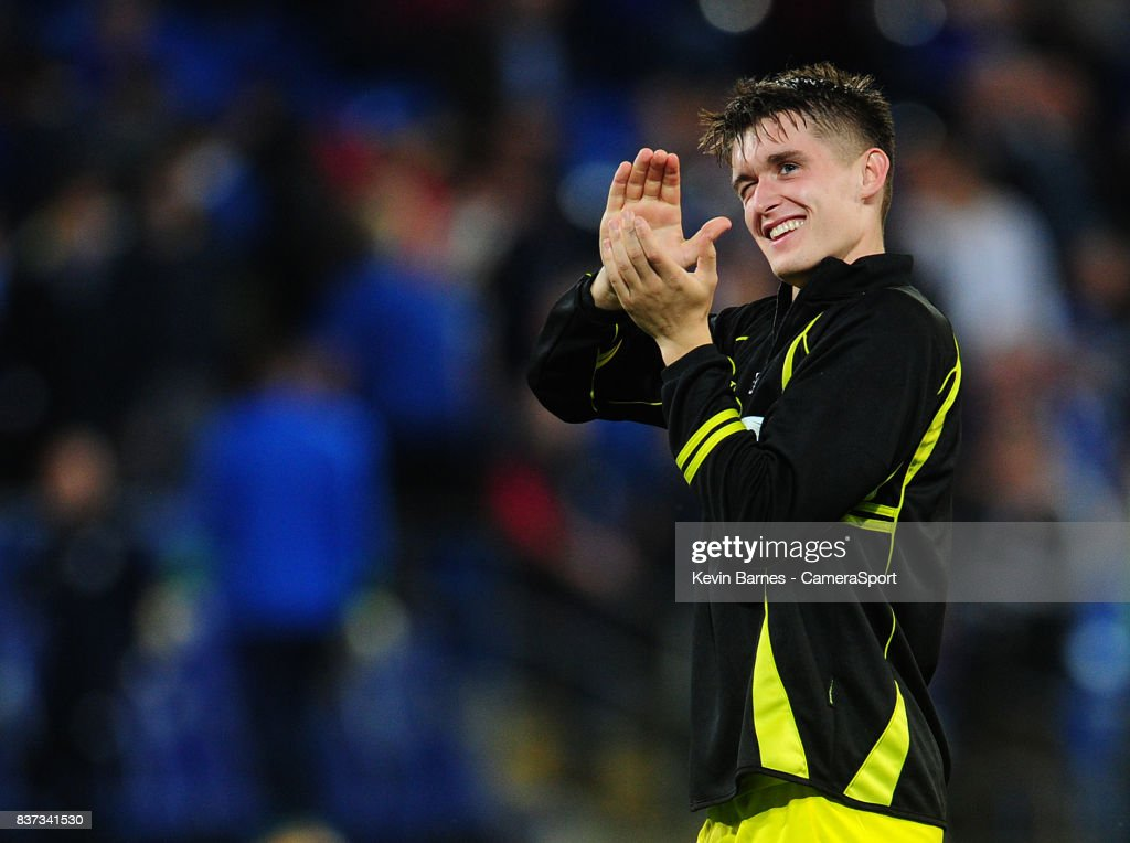Burton Albion's Ben Fox celebrates his sides win during the Carabao Cup Second Round match between Cardiff City and Burton Albion at Cardiff City Stadium on August 22, 2017 in Cardiff, Wales.