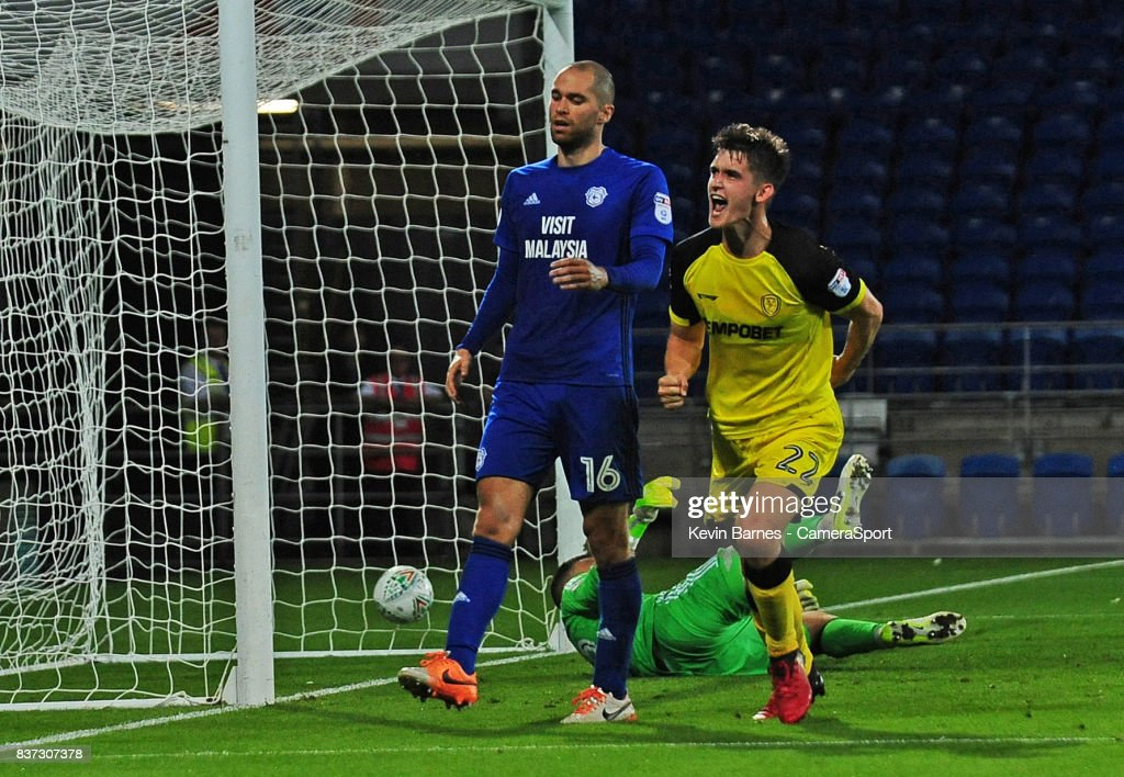 Burton Albion's Ben Fox celebrates scoring his sides second goal during the Carabao Cup Second Round match between Cardiff City and Burton Albion at Cardiff City Stadium on August 22, 2017 in Cardiff, Wales.