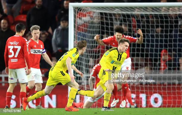 Burton Albion's Jake Hesketh celebrates scoring his side's first goal of the game during the Carabao Cup Quarter Final match at the Riverside Stadium...