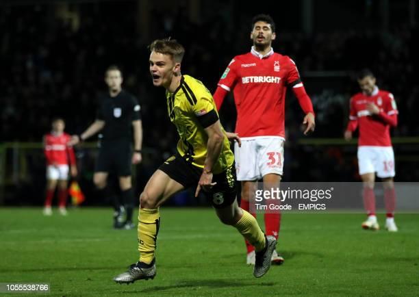 Burton Albion's Jake Hesketh celebrates scoring his side's third goal of the game Burton Albion v Nottingham Forest Carabao Cup Fourth Round Pirelli...