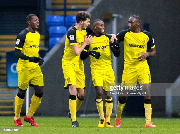 Burton Albion's Lloyd Dyer celebrates scoring his side's first goal with teammates during the Sky Bet Championship match between Bolton Wanderers and...