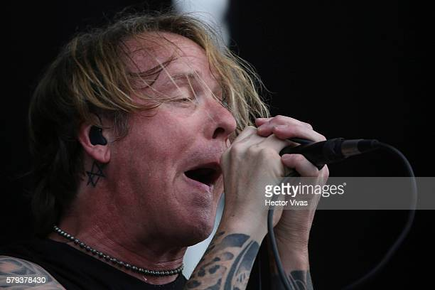 Burton Bell of Fear Factory performs during a show as part of the Corona Hell & Heaven Metal Fest at Autodromo Hermanos Rodriguez on July 23, 2016 in...