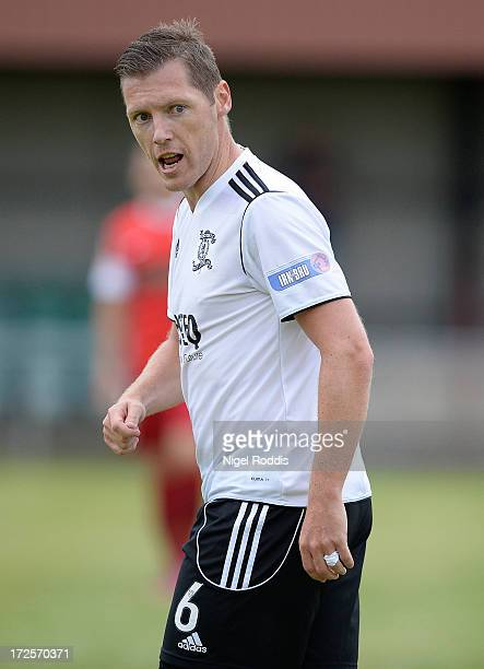 Burton O'Brien of Livingston reacts during a preseason friendly between Livingston and Dinamo Bucharest at the Rothwell Club on July 3 2013 in Leeds...