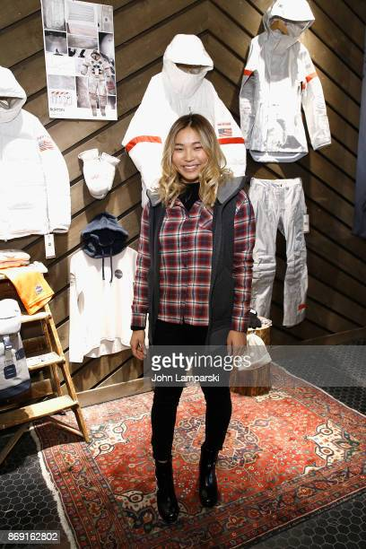 Burton pro snowboard rider Chloe Kim attends 2018 Olympic US Snowboard Team Uniform Unveil on November 1 2017 in New York City