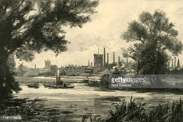 Burton-On-Trent', 1898. Industrialised market town on the River Trent in Staffordshire, known for brewing. The town originally grew around Burton...