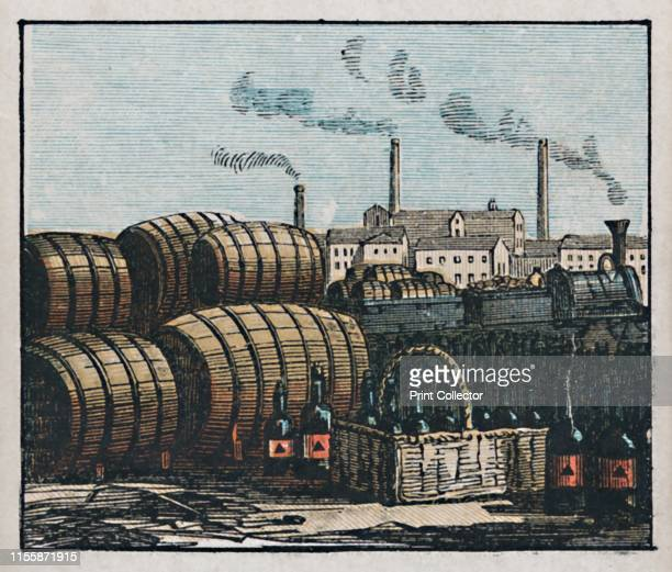 "Burton-on-Trent', circa 1910. 'Ale and Beer. Population 260.' Barrels and bottles with brewery chimneys in Staffordshire. From ""The Counties of..."