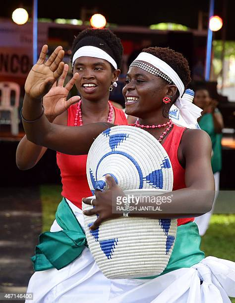 Burundian dancers perform during the Francofete Human Rights Day Festival organised by the Alliance Francaise at the Sutton Park in Durban on March...