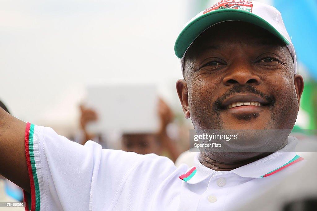 Burundi President Pierre Nkurunziza Holds Campaign Rally : News Photo