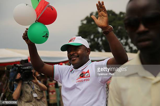 Burundian President Pierre Nkurunziza kicks off his official campaign for the presidency at a rally on June 25, 2015 in Busoni, Burundi. Nkurunziza...