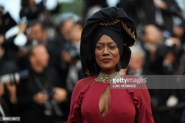 "Burundian singer and member of the Feature Film Jury Khadja Nin poses as she arrives on May 14, 2018 for the screening of the film ""BlacKkKlansman""..."