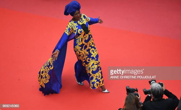 Burundian singer and member of the Feature Film Jury Khadja Nin poses as she arrives on May 16 2018 for the screening of the film 'Burning' at the...