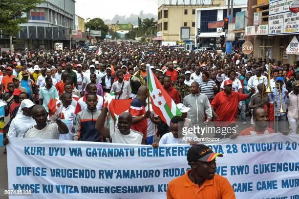 Burundians take to the streets to celebrate Burundi's withdrawal from the International Criminal Court in Bujumbura Brundi on October 28 2017...