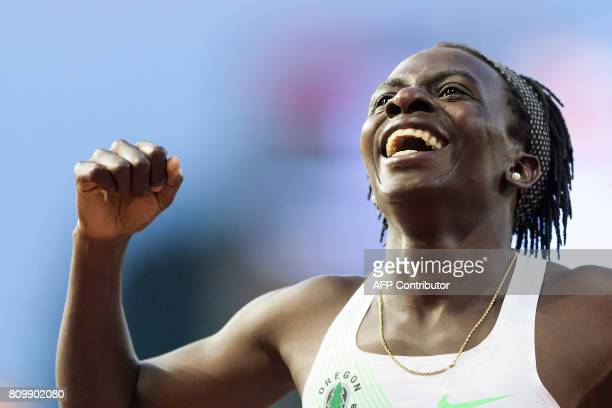 Burundi's Francine Niyonsaba reacts after winning the 800m women event during the Diamond League athletics meeting Athletissima in Lausanne on July 6...