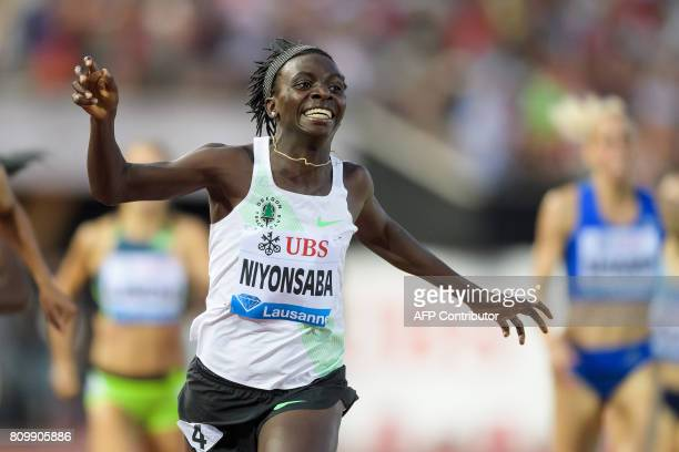 Burundi's Francine Niyonsaba wins the 800m women event during the Diamond League athletics meeting Athletissima in Lausanne on July 6 2017 / AFP...
