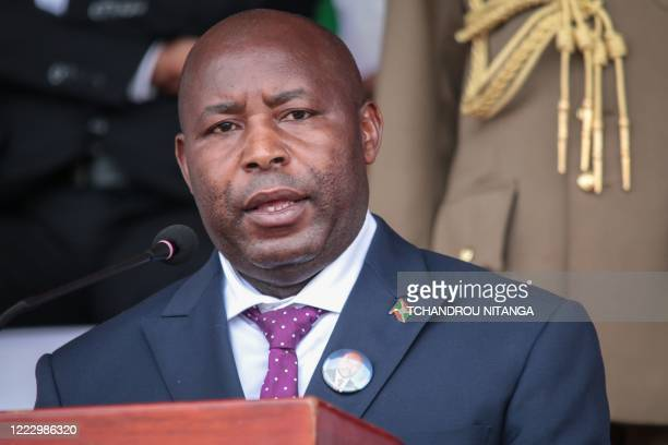 Burundi's new President Evariste Ndayishimiye delivers his speech during the national funeral of late Burundi's President Pierre Nkurunziza, who died...