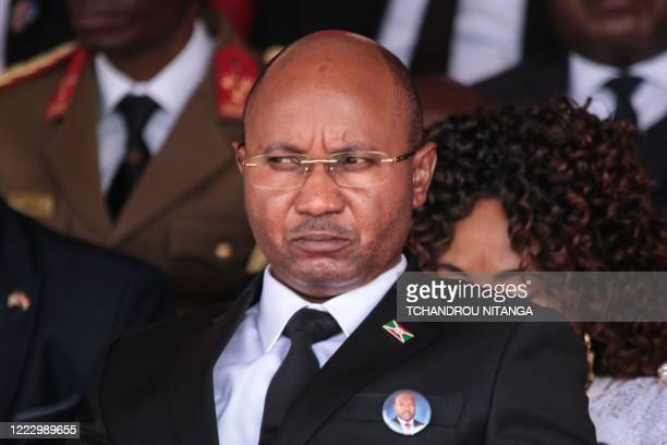 Burundi's new prime minister AlainGuillaume Bunyoni attends the national funeral of late Burundi President Pierre Nkurunziza who died at the age of...