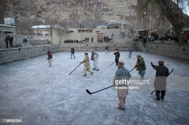 Burusho and Wakhi people living in Hunza valley of Gilgit-Baltistan, play ice hockey as they start to live in mountainous regions that have a height...