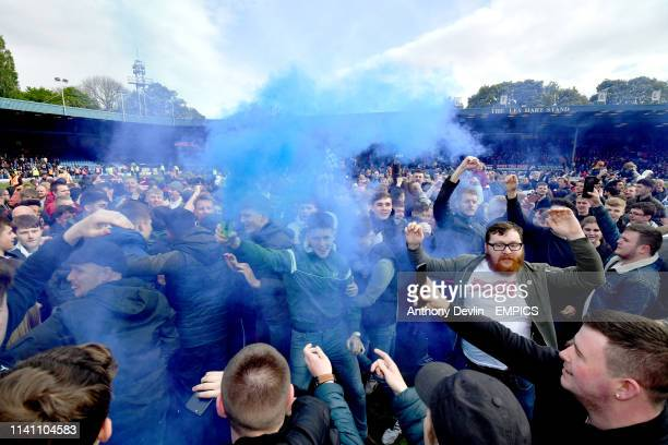 Bury fans celebrate as Bury are promoted to league one Bury v Port Vale Sky Bet League Two Gigg Lane