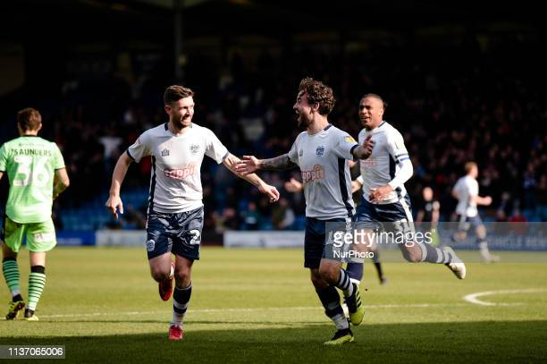 Bury forward Dom Telford celebrates after making it 20 during the Sky Bet League 2 match between Bury and Colchester United at Gigg Lane Bury on...