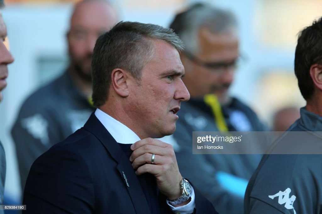 Bury manager Lee Clark during the Carabao Cup First Round match between Bury and Sunderland at Gigg Lane on August 10, 2017 in Bury, England.