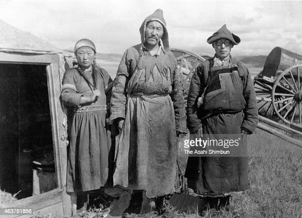 Buryats are seen circa December 1943 in Inner Mongolia China