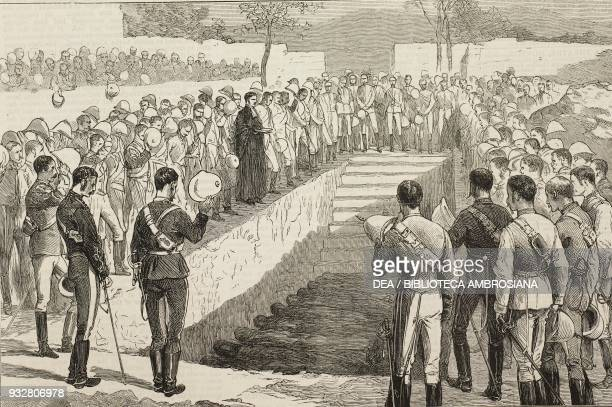 Burying the bodies in the British cemetery Jalalabad disaster to the 10th Hussar on the Kabul river Second AngloAfghan War illustration from the...