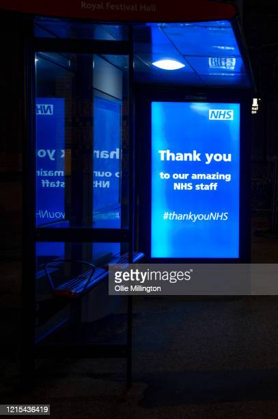 Bus advert supporting the NHS on March 28, 2020 in London, England. British Prime Minister, Boris Johnson, announced strict lockdown measures urging...