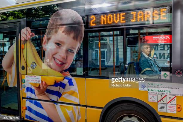 Bus advertising on a city bus on Slovenska Cesta in the Slovenian capital Ljubljana on 25th June 2018 in Ljubljana Slovenia Ljubljana city buses are...