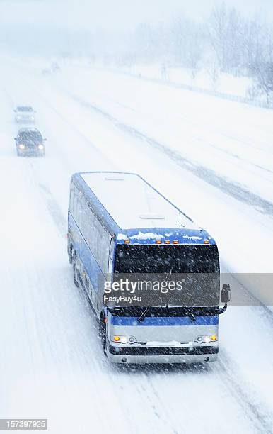 bus and blizzard - greyhound bus stock pictures, royalty-free photos & images