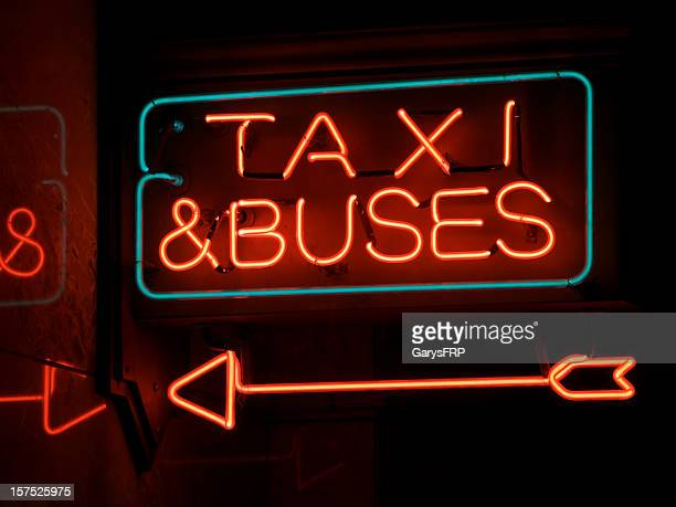 Bus and Taxi Red Neon Sign with Arrow