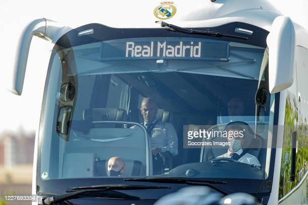 Bus arrives at the stadium of Leganes during the La Liga Santander match between Leganes v Real Madrid at the Estadio Municipal de Butarque on July...