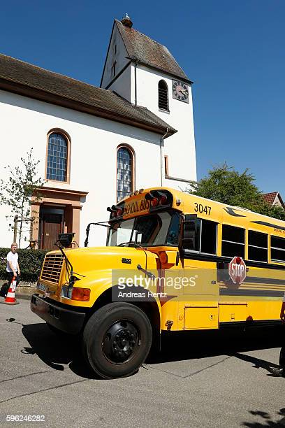 A bus arrives to pick up the guests after the wedding of Samuel Koch and Sarah Elena Timpe at the local church on August 27 2016 in Mappach near...