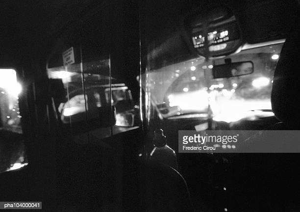 Bus cab, blurred, b&w
