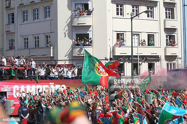 Bus Carring the Portuguese National team passes by the Portuguese supporters during the Portugal Euro 2016 Victory Parade at Lisbon on July 11 2016...