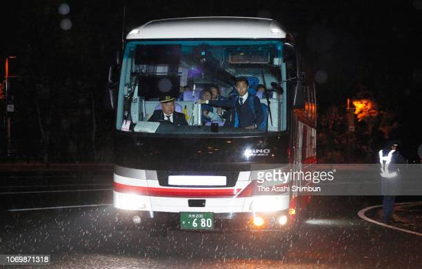 A bus carrying Japan team members arrive at the stadium 30mins prior to the international friendly match between Japan and Venezuela at Oita Bank...