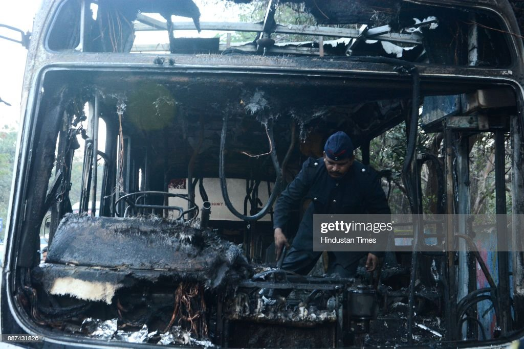 A bus caught fire apparently due to a short-circuit, raising serious concerns about the condition of the vehicles and the safety of thousands of passengers using public transport daily, on December 6, 2017 in Pune, India.