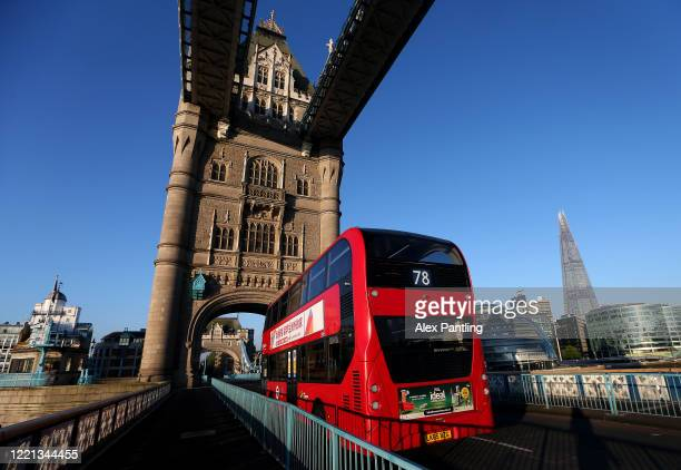 A bus crosses Tower Bridge on April 26 2020 in London England The 40th London Marathon was due to take place today with thousands of runners due to...