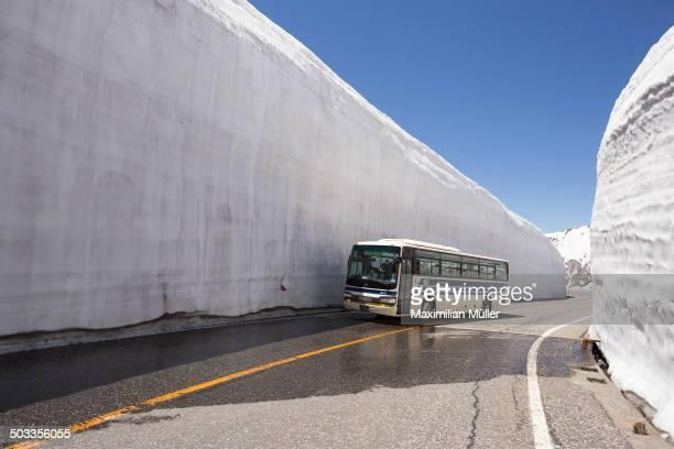 CONTENT] Bus crossing the snow walls of the Murodo Snow Corridor along the Tateyama Kurobe Alpine Route