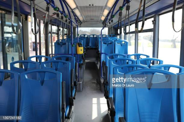 Bus departing from the Cristoforo Colombo station of the Rome-Lido railway and which runs along the Ostia promenade is seen completely empty on March...