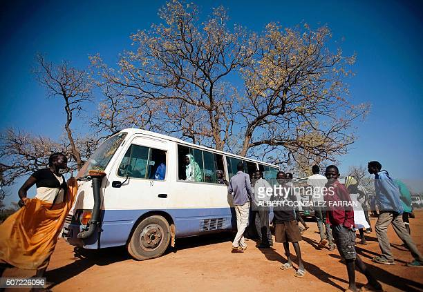 A bus departs from Ajuong Thok refugee camp in South Sudan less than 100 kms away from the border with Sudan on January 28 2016 The bus will travel...