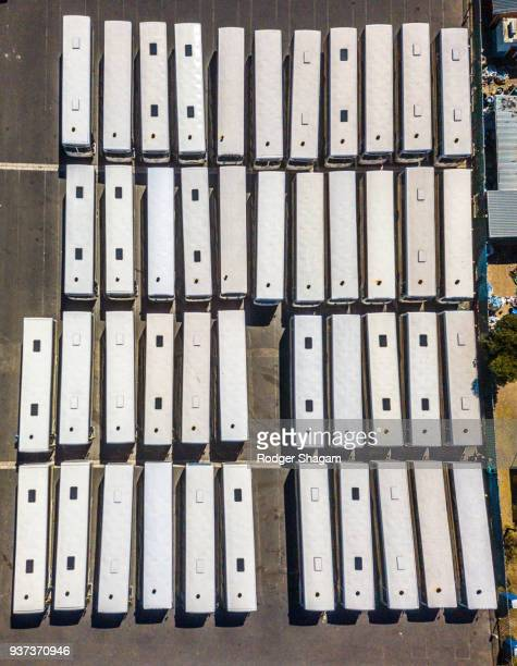 Bus depot. Parallel parking
